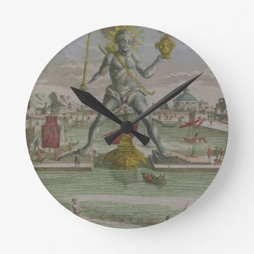 The Colossus of Rhodes, detail of the statue strad Round Clocks
