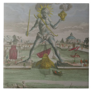 The Colossus of Rhodes, detail of the statue strad Large Square Tile