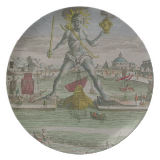 The Colossus of Rhodes, detail of the statue strad Party Plate