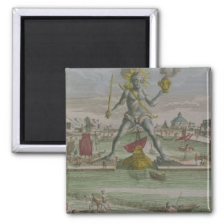 The Colossus of Rhodes, detail of the statue strad Square Magnet