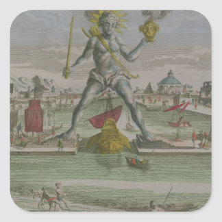 The Colossus of Rhodes, detail of the statue strad Square Sticker
