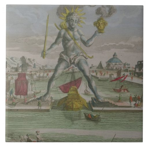 The Colossus of Rhodes, detail of the statue strad Ceramic Tile