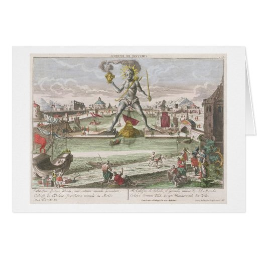 The Colossus of Rhodes, second Wonder of the World Greeting Cards