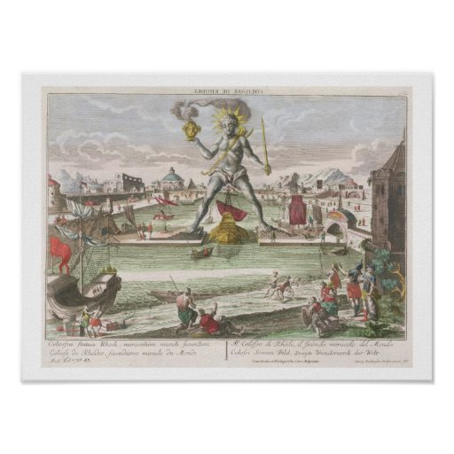 The Colossus of Rhodes, second Wonder of the World Print