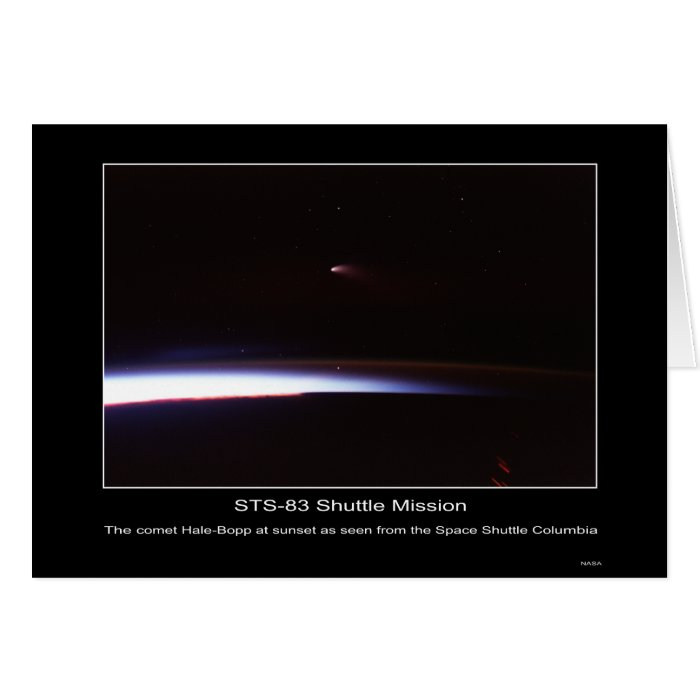 The comet Hale-Bopp at sunset as seen from the Spa Greeting Card