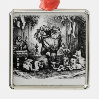 The Coming of Santa Claus, 1872 Silver-Colored Square Decoration