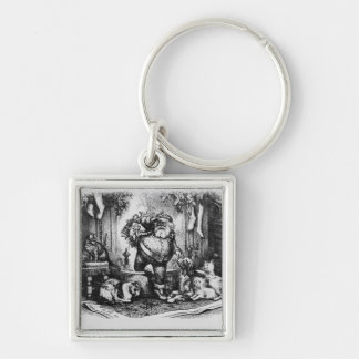 The Coming of Santa Claus, 1872 Silver-Colored Square Key Ring