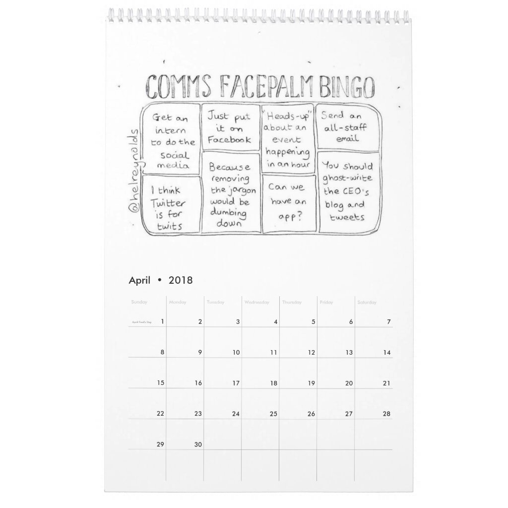 The CommsCartoons calendar 2018