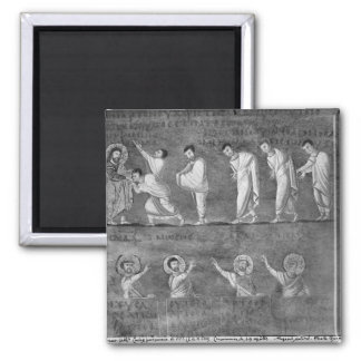 The communion of six apostles square magnet