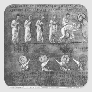 The communion of six apostles square sticker