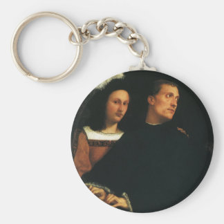 The Concert by Titian Vintage Renaissance Fine Art Basic Round Button Key Ring