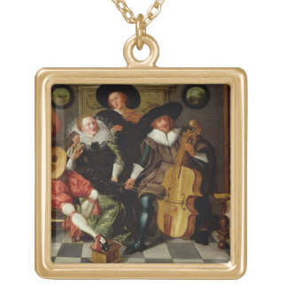 The Concert (oil on panel) Gold Plated Necklace