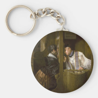 The Confession by Giuseppe Molteni 1838 Basic Round Button Key Ring