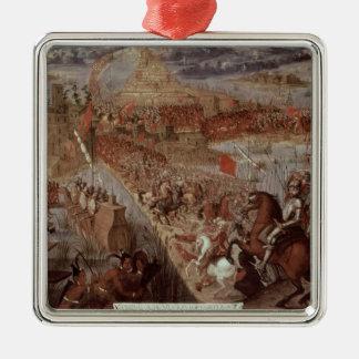 The Conquest of Tenochtitlan Silver-Colored Square Decoration