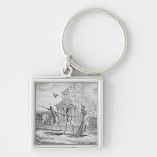 The Conspiracy of Babeuf, Year 4 Silver-Colored Square Key Ring