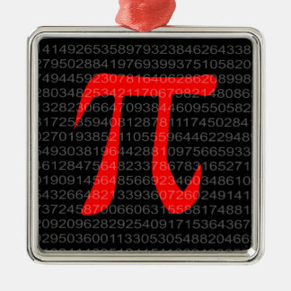 The Constant Pi Silver-Colored Square Decoration