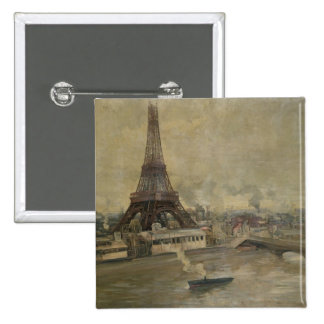 The Construction of the Eiffel Tower 15 Cm Square Badge