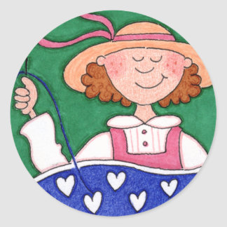 The Contented Quilter Folk Art ROUND Sticker