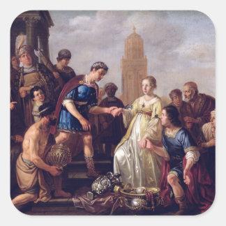 The Continence of Scipio  1643 Square Sticker