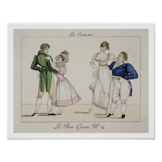 The Contrasts, plate 24 from 'Le Bon Genre', 1811 Poster