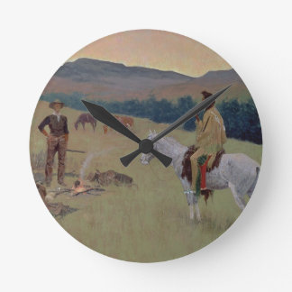The Conversation, or Dubious Company (oil on canva Round Clock