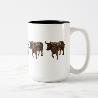 """""""The Cool, Collected, Collaged Ox"""" 15 oz mug"""