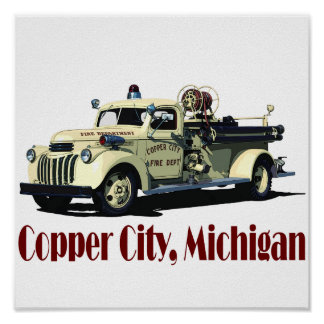 The Copper City Firetruck Print