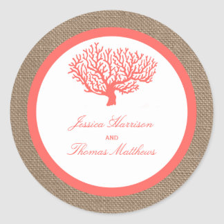 The Coral On Burlap Boho Beach Wedding Collection Classic Round Sticker