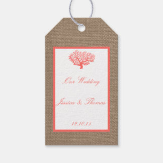The Coral On Burlap Boho Beach Wedding Collection Gift Tags