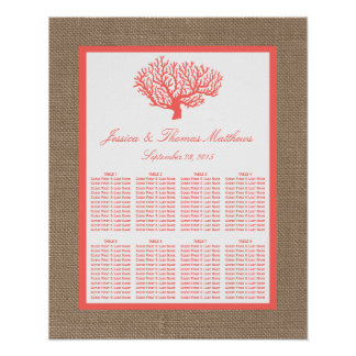The Coral On Burlap Boho Beach Wedding Collection Poster