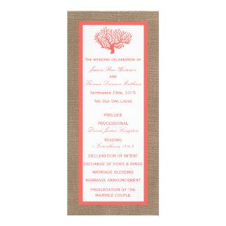 The Coral On Burlap Boho Beach Wedding Collection Rack Card