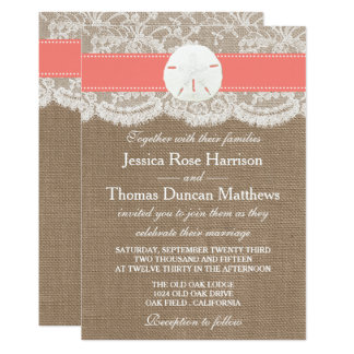 The Coral Sand Dollar Beach Wedding Collection Card