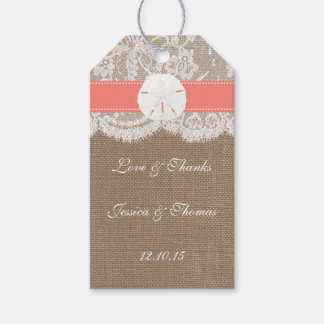 The Coral Sand Dollar Beach Wedding Collection Gift Tags