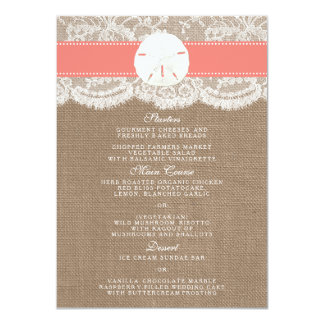 The Coral Sand Dollar Wedding Collection Menu Card