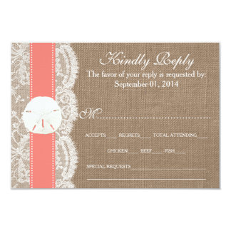 The Coral Sand Dollar Wedding Collection RSVP Card