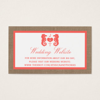The Coral Seahorse Burlap Beach Wedding Collection