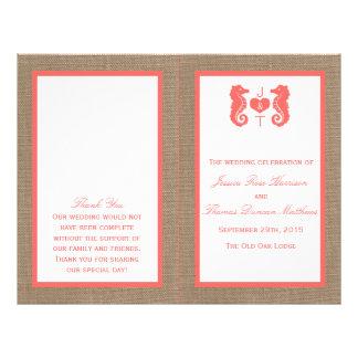 The Coral Seahorse Burlap Beach Wedding Collection 21.5 Cm X 28 Cm Flyer