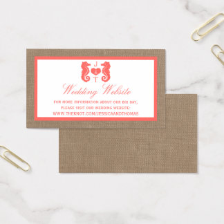 The Coral Seahorse Burlap Beach Wedding Collection Business Card