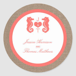 The Coral Seahorse Burlap Beach Wedding Collection Classic Round Sticker