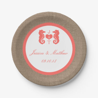 The Coral Seahorse Burlap Beach Wedding Collection Paper Plate