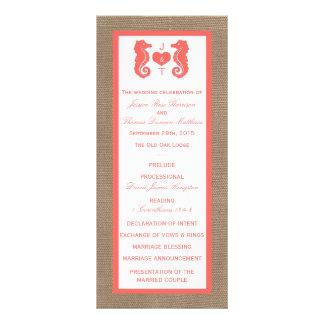 The Coral Seahorse Burlap Beach Wedding Collection Rack Card