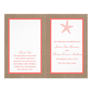 The Coral Starfish Burlap Beach Wedding Collection Flyer