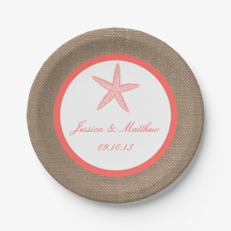 The Coral Starfish Burlap Beach Wedding Collection Paper Plate