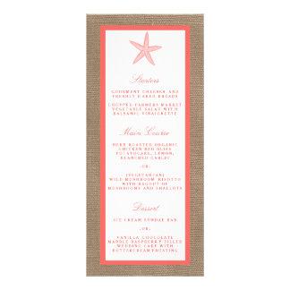 The Coral Starfish Burlap Beach Wedding Collection Rack Card
