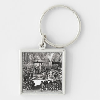 The Coronation of King George I Silver-Colored Square Key Ring