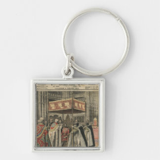 The Coronation of King George V Silver-Colored Square Key Ring