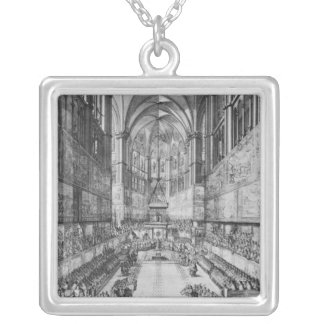 The Coronation of Louis XIV in Reims cathedral Silver Plated Necklace
