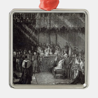 The Coronation of the Queen Silver-Colored Square Decoration