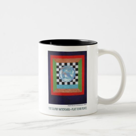The Cosmic Gameboard--Play Your Peace Two-Tone Coffee Mug