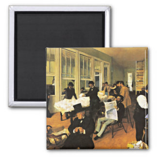 The Cotton Exchange - Edgar Degas artwork Square Magnet